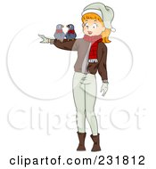 Royalty Free RF Clipart Illustration Of A Christmas Woman With Two Turtle Doves