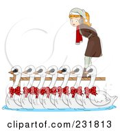 Christmas Woman With Seven Swans A Swimming