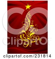 Royalty Free RF Clipart Illustration Of A Golden Floral Christmas Tree With A Shining Star On Red