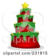 Royalty Free RF Clipart Illustration Of A Christmas Tree Cake by BNP Design Studio