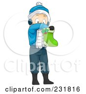 Royalty Free RF Clipart Illustration Of A Christmas Boy Reaching In A Stocking by BNP Design Studio