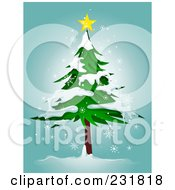 Royalty Free RF Clipart Illustration Of A Star On Top Of A Flocked Evergreen Tree Over Blue by BNP Design Studio