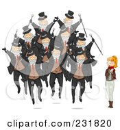 Royalty Free RF Clipart Illustration Of A Christmas Woman With Ten Lords A Leaping by BNP Design Studio