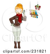 Royalty Free RF Clipart Illustration Of A Christmas Woman With Four Birds Calling by BNP Design Studio