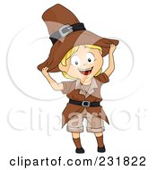 Royalty Free RF Clipart Illustration Of A Thanksgiving Boy In A Pilgrim Outfit by BNP Design Studio