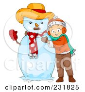 Royalty Free RF Clipart Illustration Of A Christmas Boy Hugging A Snowman by BNP Design Studio