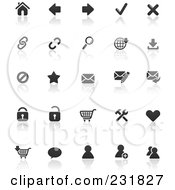 Royalty Free RF Clipart Illustration Of A Digital Collage Of Black And White Web Browser Icons With Reflections by TA Images