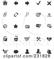Royalty Free RF Clipart Illustration Of A Digital Collage Of Web Browser Icons In Black And White by TA Images
