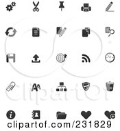 Royalty Free RF Clipart Illustration Of A Digital Collage Of Office Icons In Black And White by TA Images