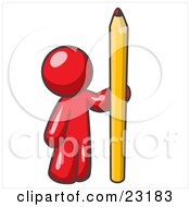 Red Man Holding Up And Standing Beside A Giant Yellow Number Two Pencil by Leo Blanchette