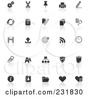 Royalty Free RF Clipart Illustration Of A Digital Collage Of Black And White Office Icons With Reflections by TA Images