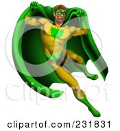 Royalty Free RF Clipart Illustration Of A Strong Male Super Hero Jumping In A Green And Yellow Suit