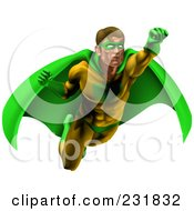 Strong Male Super Hero Flying In A Green And Yellow Suit
