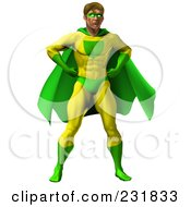 Royalty Free RF Clipart Illustration Of A Strong Male Super Hero Standing In A Green And Yellow Suit