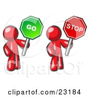 Red Men Holding Red And Green Stop And Go Signs by Leo Blanchette