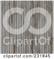 Royalty Free RF Clipart Illustration Of A Rusty Vertical Ridged Seamless Corrugated Metal Background