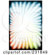 Royalty Free RF Clipart Illustration Of A Background Of Bright Rays Over A Colorful Grid With Black Grunge Borders