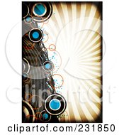 Royalty Free RF Clipart Illustration Of A Grungy Background Of Circles And Curves Over Rays With A Black Grunge Border