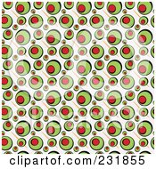 Royalty Free RF Clipart Illustration Of A Background Of Green Stuffed Olives On Beige by Arena Creative