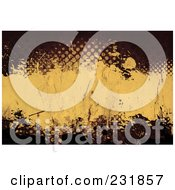 Royalty Free RF Clipart Illustration Of A Grungy Background Of Halftone And Splatters In Brown And Tan