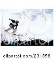 Royalty Free RF Clipart Illustration Of A Grungy Skier Background With Copyspace