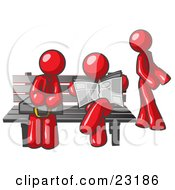 Clipart Illustration Of Red Men At A Bench At A Bus Stop