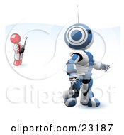 Clipart Illustration Of A Red Man Inventor Operating An Blue Robot With A Remote Control
