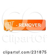 Royalty Free RF Clipart Illustration Of An Orange Remover Shopping Cart Button by oboy