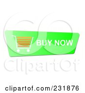 Royalty Free RF Clipart Illustration Of A Bright Green Buy Now Shopping Cart Button by oboy