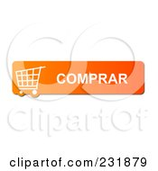 Royalty Free RF Clipart Illustration Of An Orange Comprar Shopping Cart Button by oboy