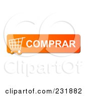 Royalty Free RF Clipart Illustration Of An Orange Comprar Buy Shopping Cart Button