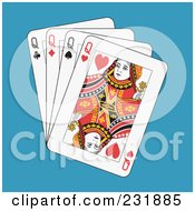 Royalty Free RF Clipart Illustration Of Four Queens On Blue by Frisko