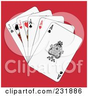 Royalty Free RF Clipart Illustration Of Full Aces And Jacks On Red