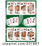 Royalty Free RF Clipart Illustration Of King Playing Cards On Green 1 by Frisko