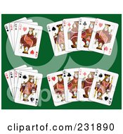 Royalty Free RF Clipart Illustration Of Queen Playing Cards On Green 2