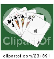 Royalty Free RF Clipart Illustration Of A Club Royal Flush On Green by Frisko