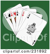 Royalty Free RF Clipart Illustration Of Full Aces And Kings On Green