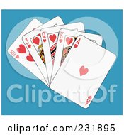 Royalty Free RF Clipart Illustration Of A Heart Royal Flush On Blue by Frisko