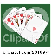 Royalty Free RF Clipart Illustration Of A Heart Royal Flush On Green by Frisko