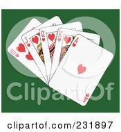Royalty Free RF Clipart Illustration Of A Heart Royal Flush On Green by Frisko