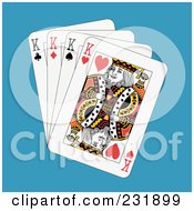 Royalty Free RF Clipart Illustration Of Four Kings On Blue by Frisko