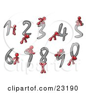 Red Men With Numbers 0 Through 9