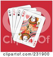 Royalty Free RF Clipart Illustration Of Four Queens On Red by Frisko