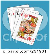 Royalty Free RF Clipart Illustration Of Four Jacks On Blue by Frisko