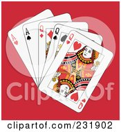 Royalty Free RF Clipart Illustration Of Full Queens And Aces On Red by Frisko