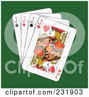 Royalty Free RF Clipart Illustration Of Four Jacks On Green