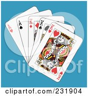 Royalty Free RF Clipart Illustration Of Full Kings And Aces On Blue