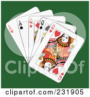 Royalty Free RF Clipart Illustration Of Full Queens And Aces On Green
