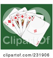 Royalty Free RF Clipart Illustration Of A Diamond Royal Flush On Green