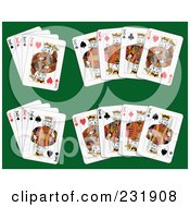 Royalty Free RF Clipart Illustration Of King Playing Cards On Green 2
